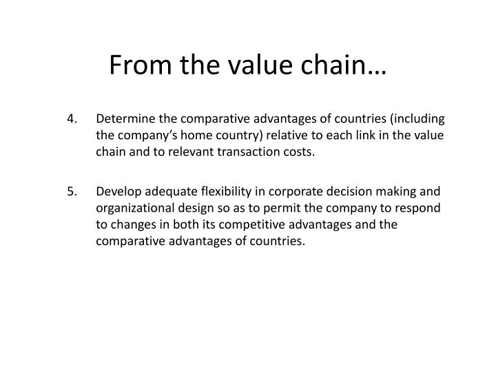 From the value chain…