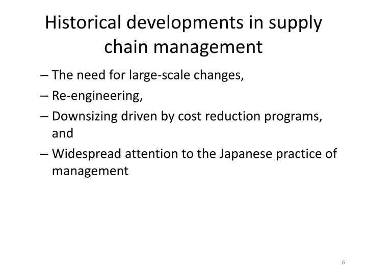 Historical developments in supply chain management