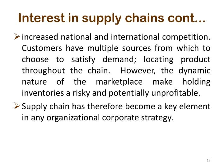 Interest in supply chains cont...