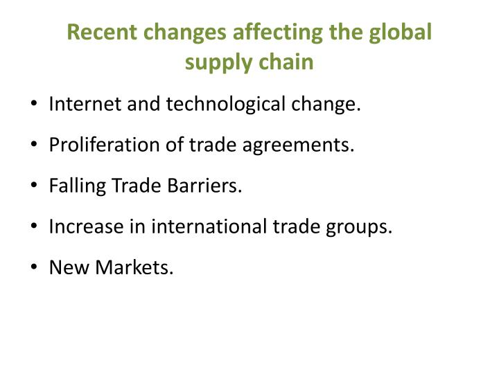 Recent changes affecting the global supply chain