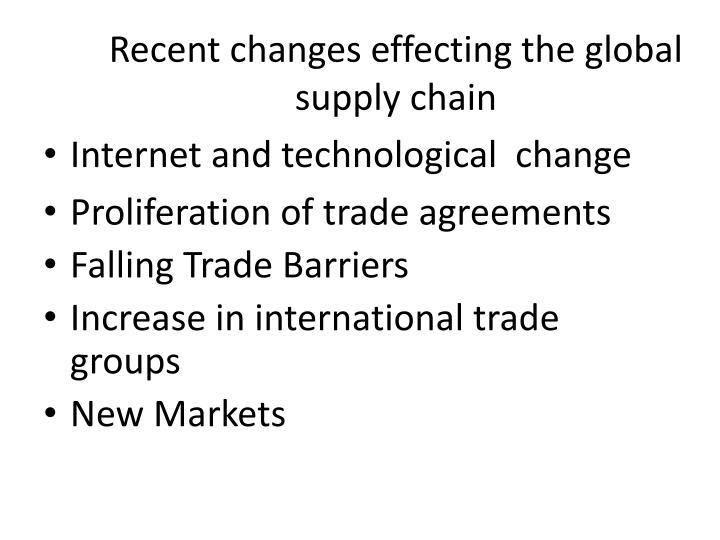 Recent changes effecting the global supply chain
