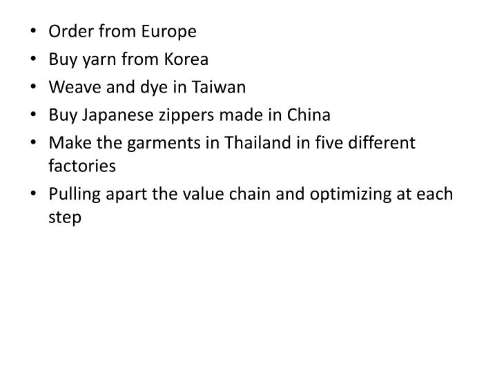 Order from Europe