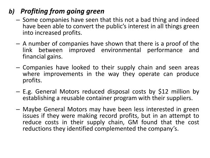 Profiting from going green