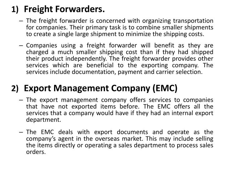 Freight Forwarders.