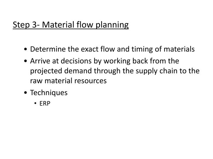 Step 3- Material flow planning