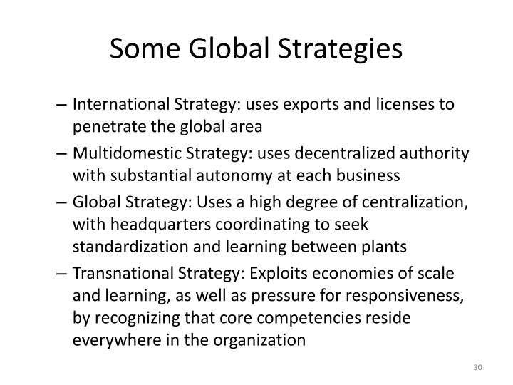 Some Global Strategies