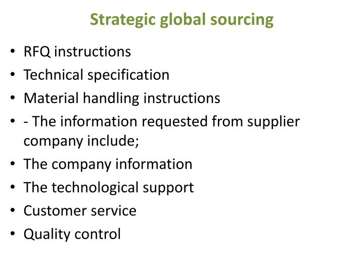 Strategic global sourcing