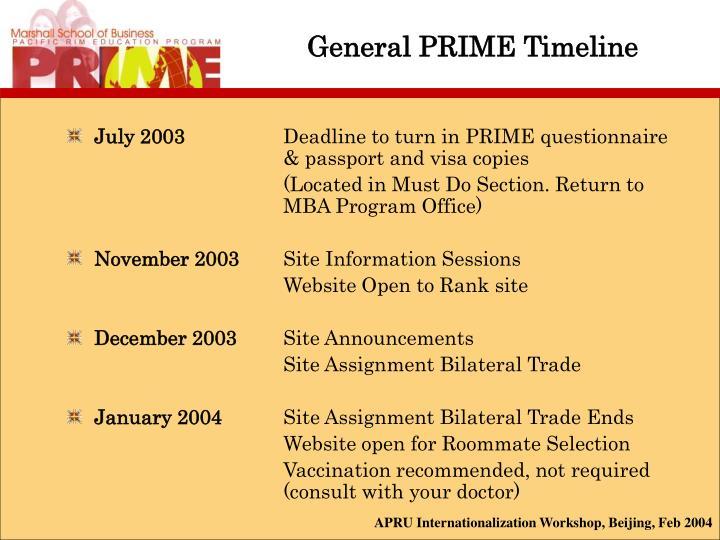 General PRIME Timeline
