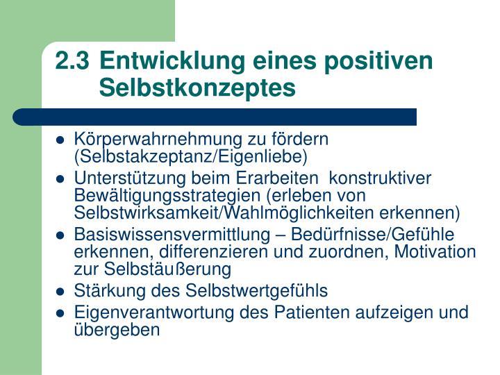 2.3Entwicklung eines positiven Selbstkonzeptes