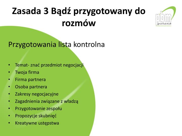 Zasada 3 Bd przygotowany do rozmw