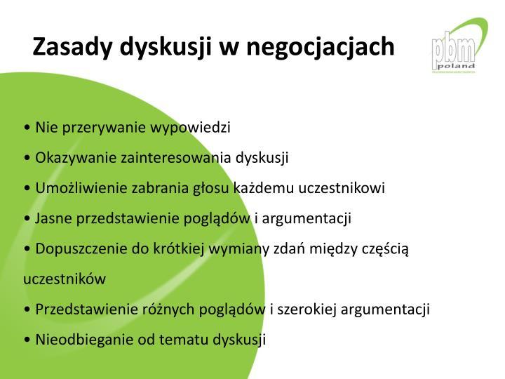 Zasady dyskusji w negocjacjach