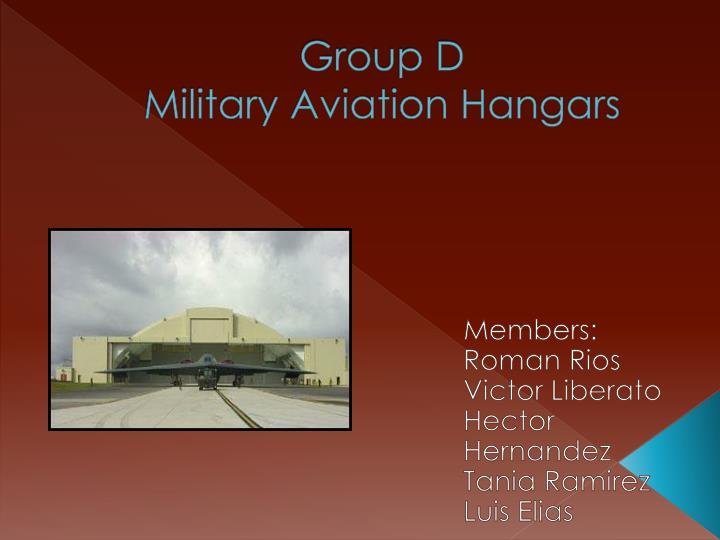 Group d military aviation hangars