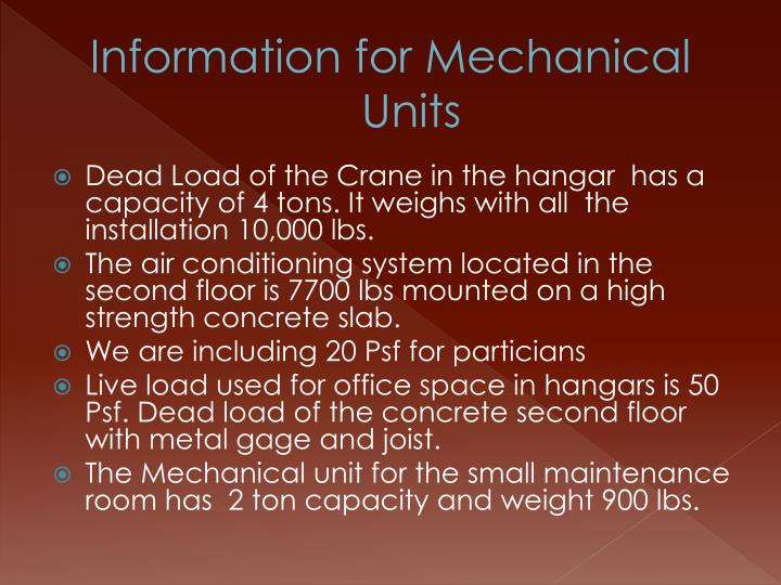 Information for Mechanical Units