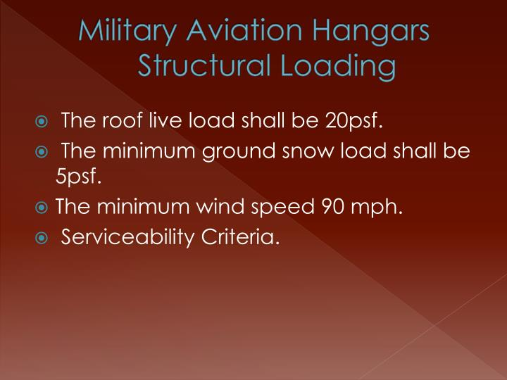 Military Aviation Hangars Structural Loading