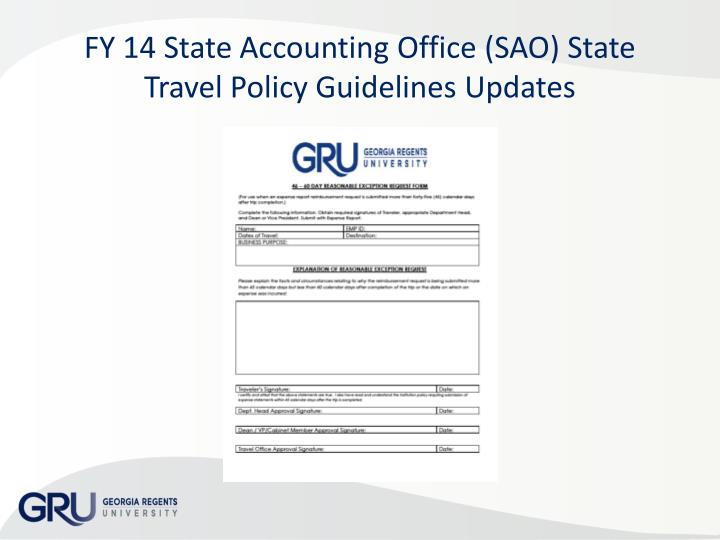 FY 14 State Accounting Office (SAO) State Travel Policy Guidelines Updates