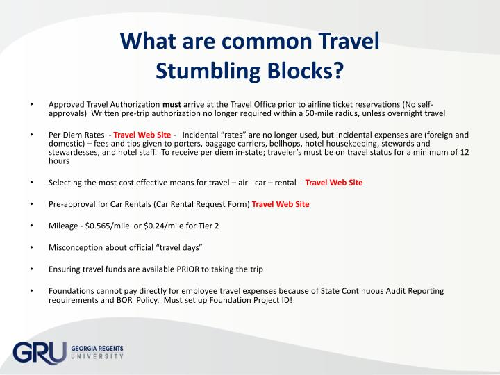 What are common Travel