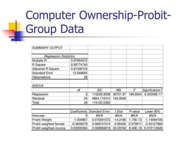 Computer Ownership-Probit-Group Data