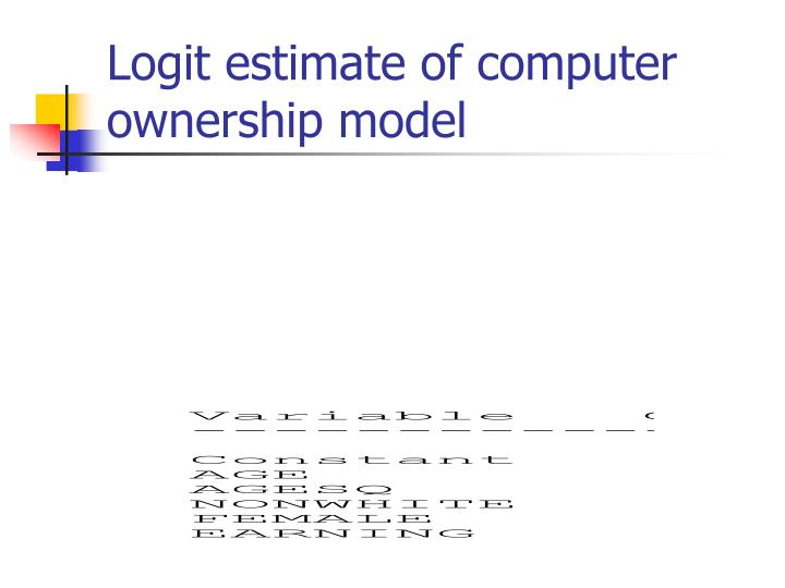 Logit estimate of computer ownership model