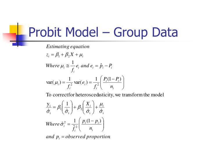 Probit Model – Group Data