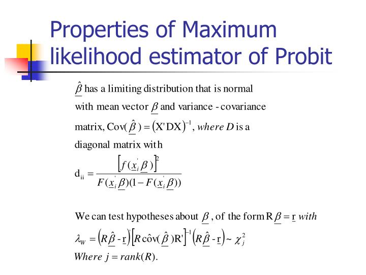Properties of Maximum likelihood estimator of Probit