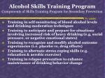 alcohol skills training program components of skills training program for secondary prevention