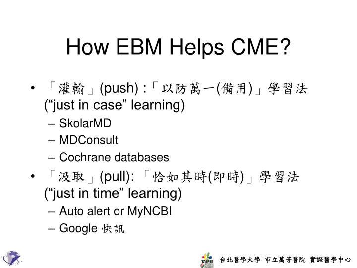 How EBM Helps CME?