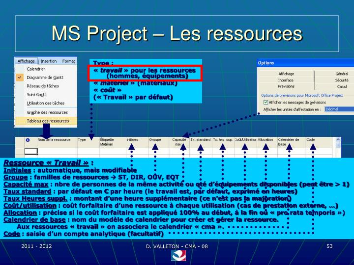 MS Project – Les ressources