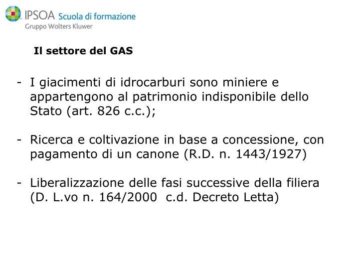 Il settore del GAS