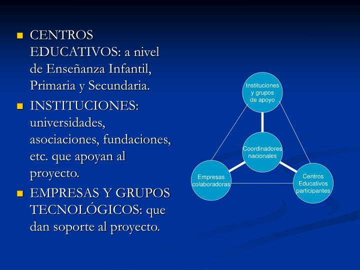 CENTROS EDUCATIVOS: a nivel de Enseñanza Infantil, Primaria y Secundaria.