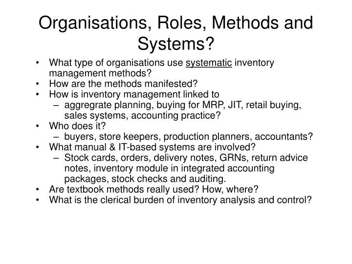 Organisations, Roles, Methods and Systems?
