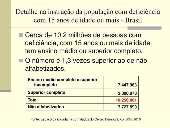 Detalhe na instrução da população com deficiência com 15 anos de idade ou mais - Brasil