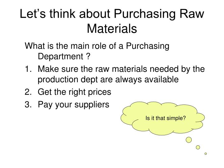 Let's think about Purchasing Raw Materials