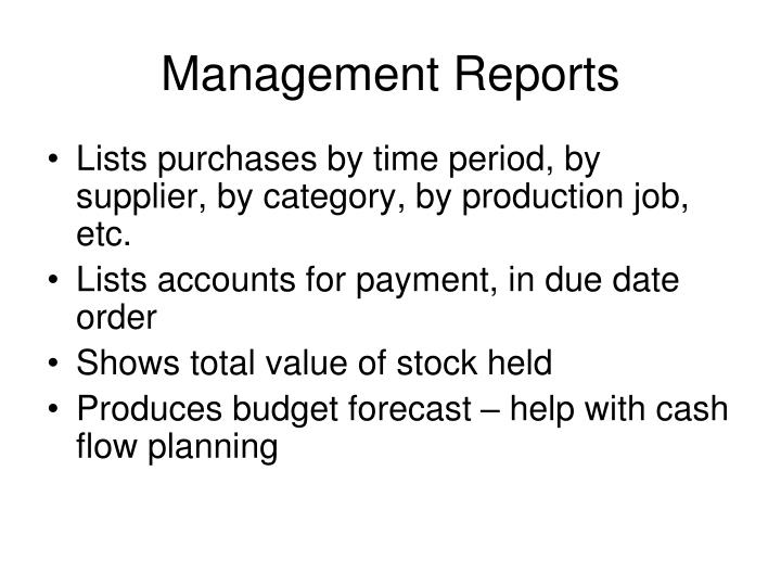 Management Reports