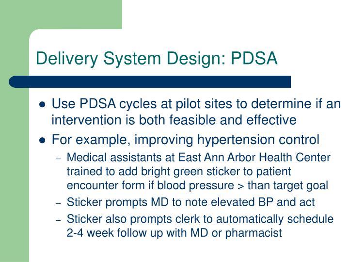 Delivery System Design: PDSA