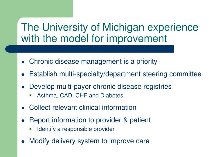 The University of Michigan experience with the model for improvement