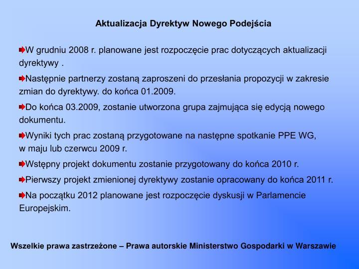Aktualizacja Dyrektyw Nowego Podejścia