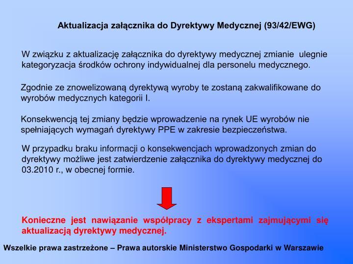 Aktualizacja załącznika do Dyrektywy Medycznej (93/42/EWG)