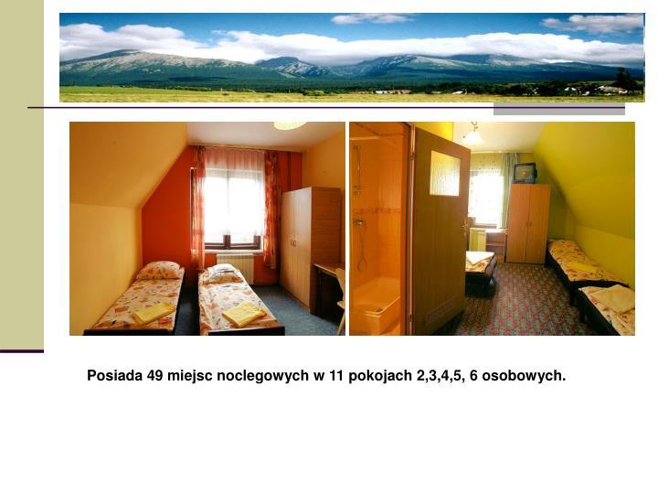Posiada 49 miejsc noclegowych w 11 pokojach 2,3,4,5, 6 osobowych.
