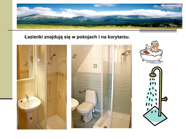 Łazienki znajdują się w pokojach i na korytarzu.