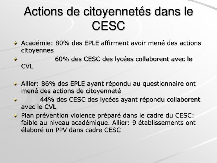 Actions de citoyennetés dans le CESC