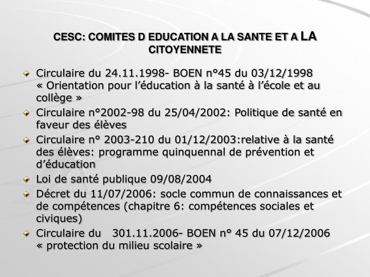 CESC: COMITES D EDUCATION A LA SANTE ET A