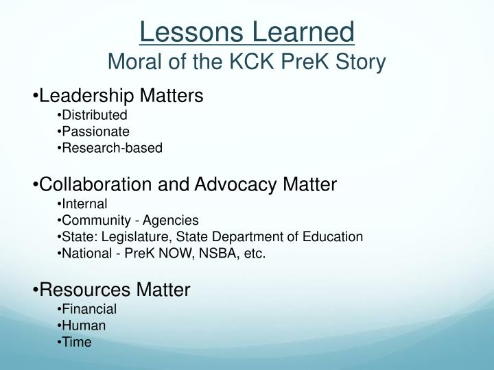 Lessons learned moral of the kck prek story
