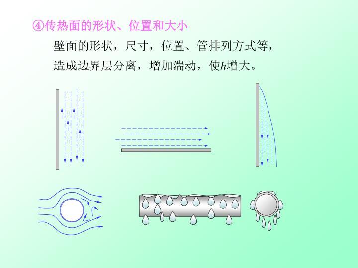 ④传热面的形状、位置和大小