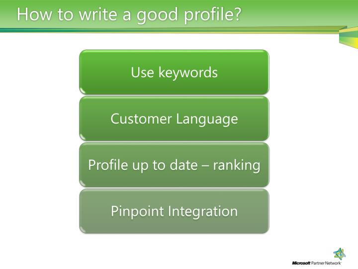 How to write a good profile?