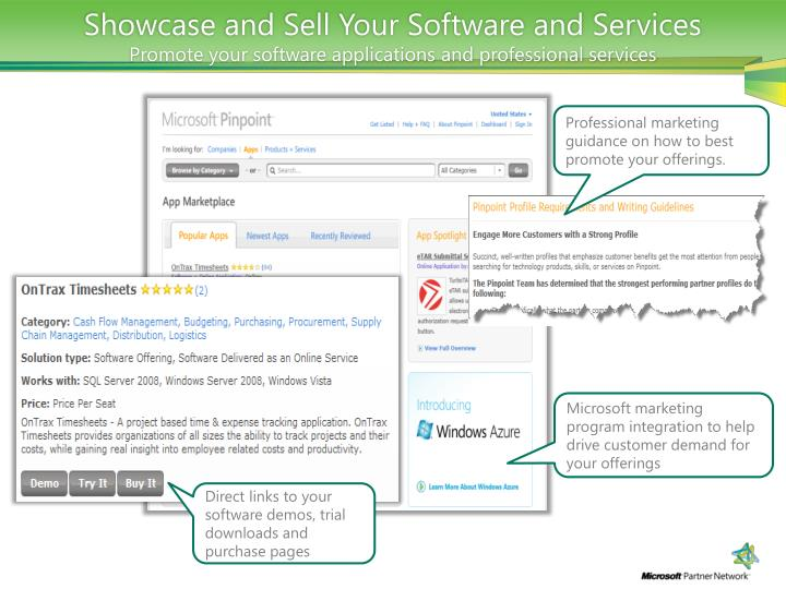 Showcase and Sell Your Software and Services