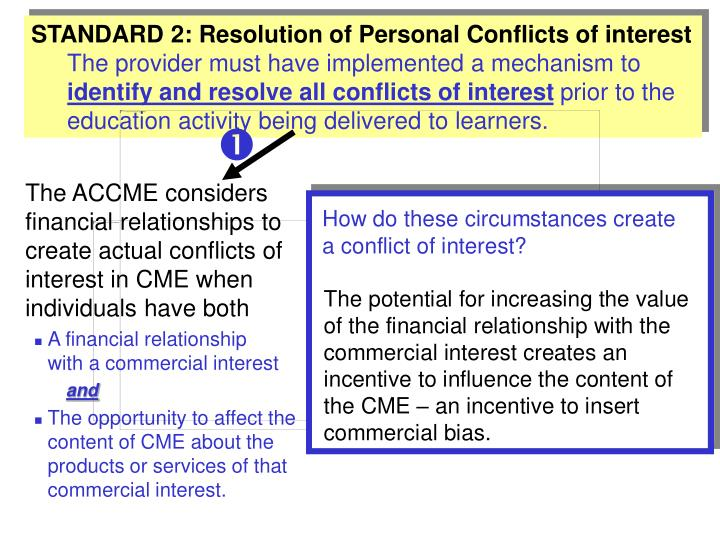 STANDARD 2: Resolution of Personal Conflicts of interest