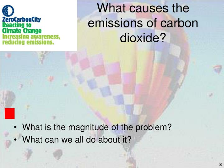 What causes the emissions of carbon dioxide?