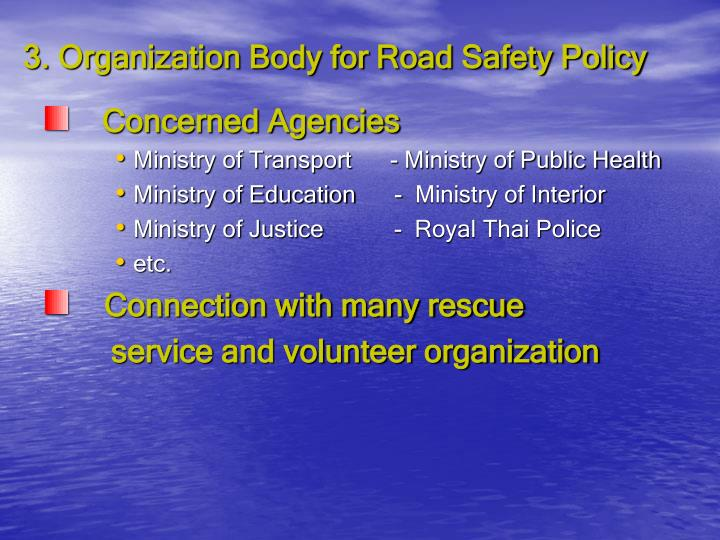 3. Organization Body for Road Safety Policy