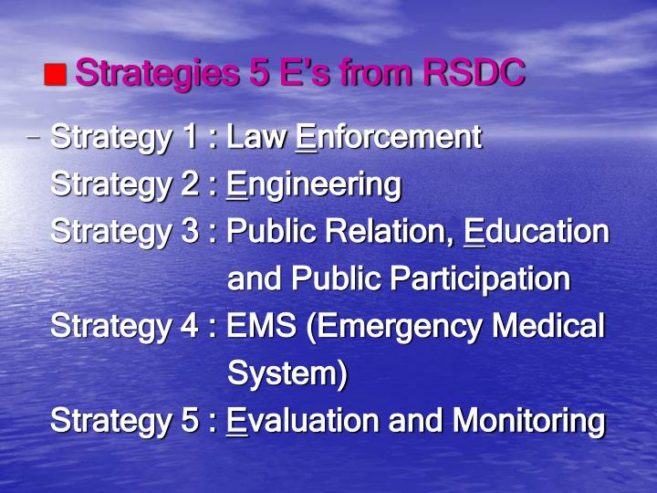 Strategies 5 E's from RSDC