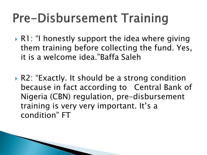 Pre-Disbursement Training